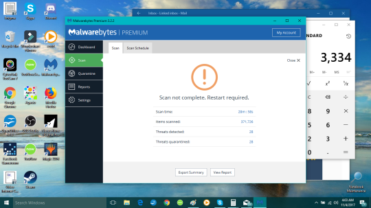 Malewarebytes found 28 THREATS 11-3-2017